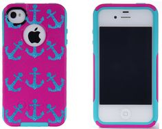 Otterbox iPhone 4 / 4S Commuter Case Pink/Peacock Glitter Mini Anchors iPhone 4S Otterbox Case