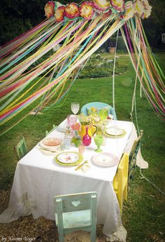 love the canopy - rainbow party Oooooh!!! Ribbons instead of crepe paper!!