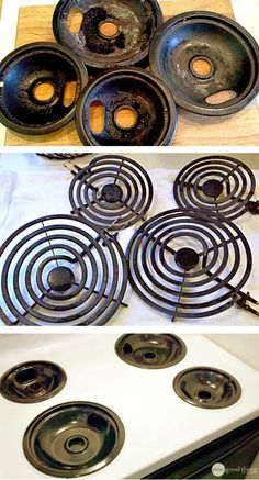 Each burner pan sealed in a ziploc bag with just a splash of ammonia poured into each. Less than 24 hours later with NO SCRUBBING INVOLVED, the cleanest my stove top and burner pans have EVER been!
