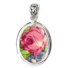 Broken China Jewelry Grimwades Summertime Chintz Pink Rose Flower Sterling Oval Pendant