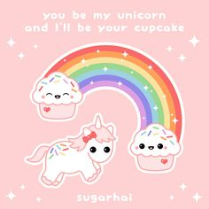Super pink cute unicorn love quote with cupcakes from sugarhai.