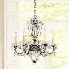 Crystal florets add a sweet touch to this traditional crystal chandelier from Schonbek. 22 high x wide x hang weight of 13 lbs. Includes of chain, of wire. Style # 94729 at Lamps Plus. Chandelier Lighting Fixtures, Bronze Chandelier, Mini Chandelier, Chandelier Shades, Chandeliers, Chandelier Ideas, Foyer Lighting, Kitchen Lighting, Lighting Ideas
