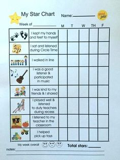 I like the idea of a positive behavior star chart. It allows students to track their positive behavior and good choices. Positive Behavior Chart, Behavior Chart Preschool, Good Behavior Chart, Classroom Behavior Chart, Behavior Chart Toddler, Reward Chart Kids, Behavior Rewards, Behavior Plans, Student Behavior