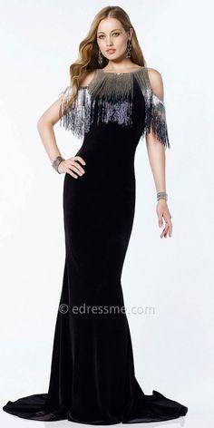 Metallic Fringe Cold Shoulder Evening Dress by Alyce Paris