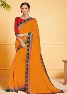 Mustard Chiffon Lace Border Party Wear Saree Product Details : Saree color is mustard. Fabric of this designer saree is chiffon. Comes along with raw silk unstitched blouse. Saree has lace border. Ideal for wedding function, party function, festiva Sarees For Girls, Sari Dress, Lace Border, Party Wear Sarees, Party Fashion, Girls Shopping, Blue Lace, Blouse Designs, Silk Sarees