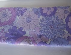 Vintage double duvet cover - Marks & Spencer, St Micheal, purple mod flower, mid century by BlindDogVintage on Etsy