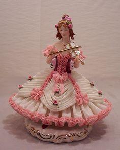 Vintage Dresden Porcelain Figurine Girl Playing Violin