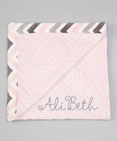 Take a look at the Lolly Gags Baby Pink & Silver Zigzag Personalized Stroller Blanket on #zulily today!