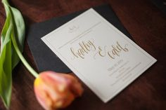 Cream and Gold modern calligraphy wedding invitation