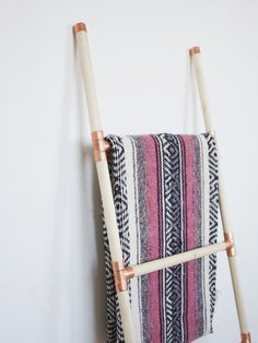 DIY Wood + Copper Blanket Ladder