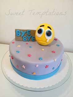 "Farewell cake - Farewell cake for a co-worker. Cake is filled with vanilaasponge and cheesecream with tangerines. Smiley is made of fondant and gumpaste. i was inspired by a cake from ""Zelicious"""