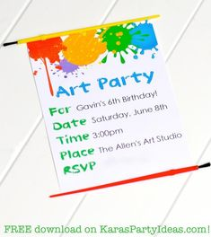 FREE art themed colorful party invitation! Girl and boy versions! Via Kara's Party Ideas KarasPartyIdeas.com