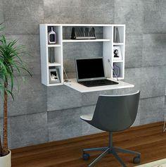 Omega Study Desk White Oak Floating with Storage Study Table Designs, Study Room Design, Space Saving Furniture, Home Furniture, Furniture Design, Home Office Design, Home Office Decor, Home Decor, Office Desk