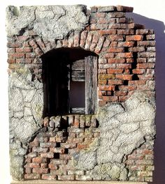 Scratchbuilt by Marcel Ackle, scale - WIP . Building Front, Model Building, Hand Kunst, Indoor Water Garden, Old Brick Wall, Free To Use Images, Military Diorama, Miniature Crafts, Fairy Houses