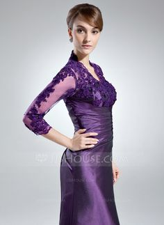 A-Line/Princess V-neck Floor-Length Taffeta Tulle Mother of the Bride Dress With Ruffle Lace Beading Sequins (008005866)