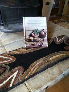 """primitive rug hooked hearth mat """"October Midnight Walk"""""""