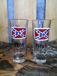 Wedding Rebel Flag Shooter Glass set Rebel Flag by ItsJustSlate, $10.00