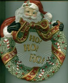 Fitz and Floyd Cookie Plate Wreath Christmas Santa