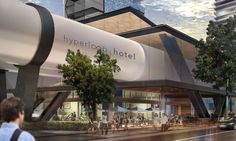 At the Hyperloop Hotel, guests could zoom between a network of cities, eliminating the need for planes. The concept won a 2017 Radical Innovation Award. Futuristic Design, Futuristic Architecture, Futuristic City, Architecture Student, Architecture Design, Europa Express, Radical Innovation, Las Vegas, Design Hotel