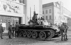during the Romanian Revolution at Piata Victoriei, 1989 Romanian Revolution, Patton Tank, World Tanks, East Germany, Korean War, Bucharest, Armored Vehicles, Military Vehicles, Wwii