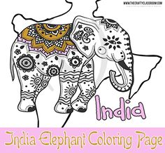 India Elephant Coloring Page (India)