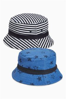 Pack de dos gorros de pescador con estrellas y rayas (Niño pequeño) Sombrero  Pescador 3d3160cc03b