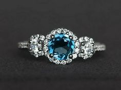 Round blue topaz ring 925 sterling silver wedding ring engagement ring gift her #Affinity Pretty Engagement Rings, Gemstone Engagement Rings, Engagement Ring Cuts, White Topaz Rings, Blue Topaz Ring, Blue Rings, Sterling Silver Wedding Rings, Blue Gemstones, London Blue Topaz