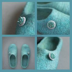 100 % handmade pure natural wool felted slippers with original decoration made of grey handmade felt covered button with seed beads Wool Shoes, Felt Shoes, Handmade Gifts For Her, Handmade Felt, Felted Wool Slippers, Crazy Socks, Womens Slippers, Needle Felting, Wool Felt