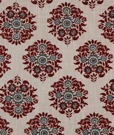 Robert Allen Dora Flora Garnet Fabric - $33.3 | onlinefabricstore.net