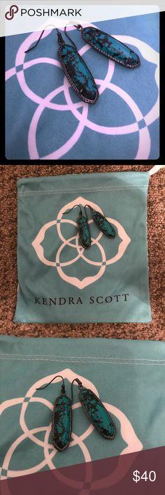 Kendra Scott Layla Earring Kendra Scott Layla Earring - Varigated Teal & Gunmetal - Like new - Comes with KS dust bag Kendra Scott Jewelry Earrings