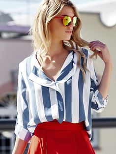 Stylish Turn-Down Collar Long Sleeve Vertical Striped Loose-Fitting Blouse For Women - summer blouses and tops, blouses on sale, color blouse *sponsored https://www.pinterest.com/blouses_blouse/ https://www.pinterest.com/explore/blouses/ https://www.pinterest.com/blouses_blouse/white-lace-blouse/ https://www.elietahari.com/shop/clothing/blouses