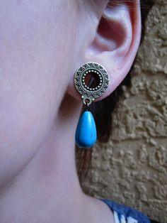 Pair of Antique Brass Tribal Tunnels with Turquoise Teardrop Beads - by WhimsyByKrista, $25.00