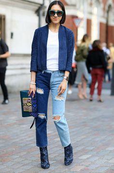 eva chen look calça jeans aplicações