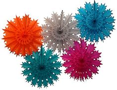 "Set of five tissue paper snowflake decorations - orange, gray, teal green, turquoise blue, and cerise pink.  Made in USA by Devra Party.  ""Gem"" collection sold on Amazon."