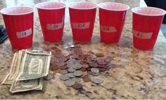 "OCD Girl Scout Leaders  Money relay race for ""Money Counts Leaf"".  Teams race to sort their money while burning some energy"