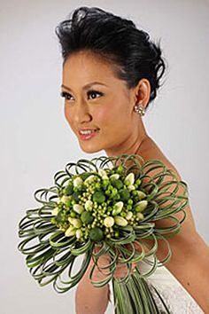 Modern wedding bouquet design - white and green, grass detail - Designed by Andy Djati Utomo
