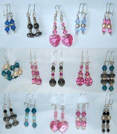 Handmade Earrings With Swarovski Crystals And Pearls