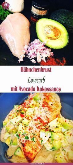 Hähnchen und Avocado mit Kokosnuss. Der Geschmack bei dieser lowcarb Variante ist unglaublich lecker. Das Rezept im Handumdrehen gemacht und einmal mehr, ein neuer Geschmack auf dem Tisch.