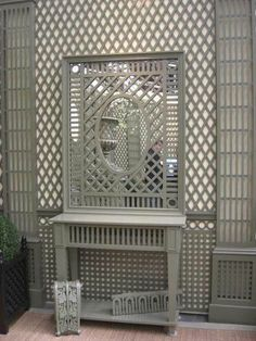 Interior lattice walls, or trellis over mirror, helps capture light and create a garden like ambiance. Trellis Design, Lattice Wall, Mirror Inspiration, Metal Artwork, French Country Style, Architectural Elements, Wall Treatments, Ceiling Design, Wall Wallpaper