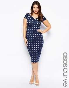 Image 1 ofASOS CURVE Bodycon Dress In Spot With Cross Back