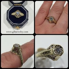 This c1920 ring has the most beautiful detail in 14k two tone gold and diamond. $995. Call to purchase. #giltjewelry #artdeco #1920 #filigree #vintagering #engagement #wedding #beautiful