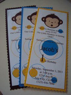 Mod Monkey Invitations - Mod Monkey Birthday - Mod Monkey Party - Mod Monkey 1st Birthday - Mod Monkey. $1.50, via Etsy.