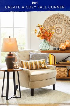 This cozy fall corner starts with a roomy armchair. Personalize it with throw pillows, add some warm lamplight and finish the look with a vibrant faux fall floral arrangemt. Find it all at pier1.com! #homedecor #pier1love Living Room Update, Room Decor, Decor, Interior Design, Home Decor Furniture, Living Room Decor, Furniture, Family Living Rooms, Living Room Plan