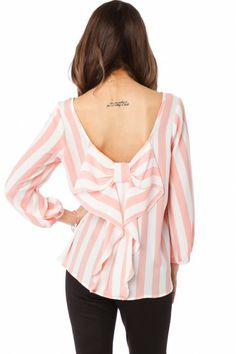 Coletta Bow Blouse in Striped Pink