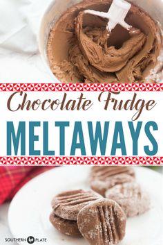 Chocolate Fudge Meltaways ~ https://www.southernplate.com