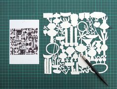 Paper cut by Heather Moore for Skinny laMinx, inspired by Stig Lindberg's in-store gift wrap for Gustavsberg.