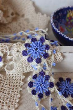 Receitas de Crochet: Colar de crochet com missangas necklace