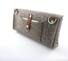 Cute multi functional Clutch purse.Homage to a classic German design. Handmade- eco friendly pure Wool Felt classic gray