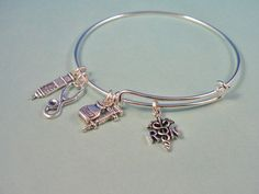 RN Or LPN Style Silver Bangle Bracelet Inspired by DesignsBySuzze