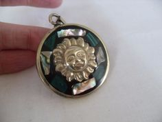 Malachite Sterling Sun pendant, vintage Green Mayan Sun pendant, Mother of pearl #Pendant